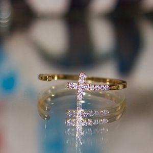 14kt gold dipped dainty cross Swarovski adjustable